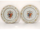 Pairs porcelain dishes Compagnie des Indes coat of arms coat of arms knight 18th