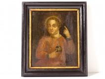 HSP icon painting portrait Child Jesus halo Salvator Mundi orb eighteenth