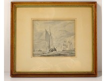 Lavis marine painting sailing boats Charles Huysmans Belgian school nineteenth