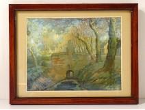 Watercolor gouache Joseph Posenaer landscape lock Flemish school twentieth century