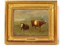 HSP table landscape cows JL. Van Hemelrijck Belgian School XIXth Century