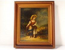 HST painting woman child landscape countryside french school nineteenth century