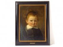 HST painting portrait child girl Marie Vanden Eycken Belgian school nineteenth