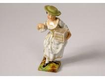 Polychrome porcelain statuette elegant woman cage oiseeau nineteenth century