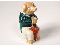 Moutardier porcelain polychrome pig sitting Mog Father Son Dijon twentieth
