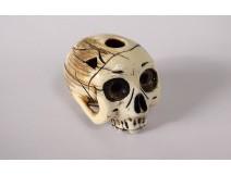 Netsuke Ivory Carved Skull Vanity Signed Shozan Japan Edo Skull Nineteenth Century