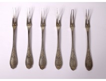 6 silver snail forks goldsmith Cailar-Bayard twentieth century