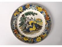 Plate polychrome Montereau Louis Lebeuf characters Walnut Nineteenth