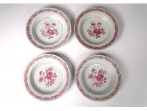 4 hollow porcelain dishes Compagnie des Indes Family Rose flowers eighteenth