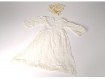 Baptism dress old tulle embroidery flowers nineteenth twentieth century
