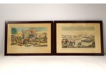 2 Engravings Wars Napoleon Battles Eylau Abensberg Empire 1807 1809 Nineteenth