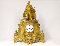 Restoration clock gilded bronze artist painter workshop table nineteenth