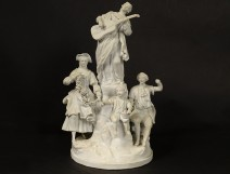 Sculpture group biscuit center table characters musician flowers nineteenth