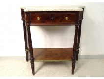Small console Louis XVI mahogany white marble sides curved nineteenth century