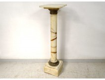 Decorative column fifth wheel veined white marble gilded bronze flowers XIX