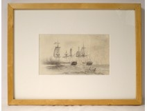 Pencil drawing marine naval battle ships ships sailing ships Baillot 19th