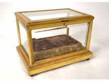 Large gilt wood reliquary box 19th century beveled glasses