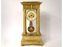Portico pendulum with gilded bronze columns flowers crown Ith Empire XIXth
