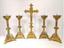 Tapered candlestick altarpiece crucifix neo-gothic gilt bronze 19th dragons
