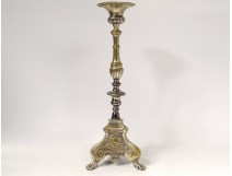 Candlestick candle holder silver bronze shell claw feet church XIXth