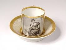 Paris porcelain cup saucer grisaille gilding woman landscape Empire XIXth