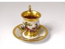 Paris porcelain saucer cup characters gilding landscape 19th restoration