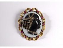 Cameo brooch Négresse onyx solid gold 18K ruby diamonds XIXth