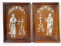 Pair of decorative mother-of-pearl wood panels characters Vietnam Indochina XIX