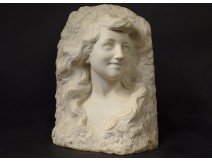 Sculpture Etienne Lenhoir bust young woman Carrara marble Art Nouveau XIXth