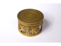 Small round brass crystal crystal box griffins lions 1st Empire XIXth