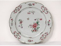 Dish porcelain plate Compagnie des Indes European decor flowers XVIIIth