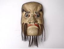 Noh mask polychrome wooden demon Gigaku O-beshimi Edo Japan XIXth