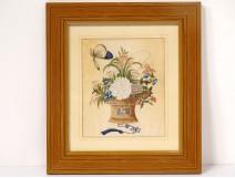 Watercolor rice paper wicker basket bouquet flowers butterflies XIXth century