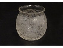 Small René Lalique crystal glass vase, Tehran model, 20th century birds engraving