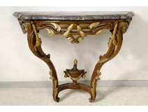 Louis XV console carved wood painted gilded marble foliage eighteenth century