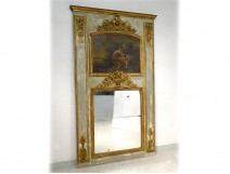 Trumeau glace HSP Louis XVI gilt painted wood gallant scene 18th century basket