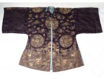 Chinese dress silk embroidery gold thread dragons bat pagoda XIXth China