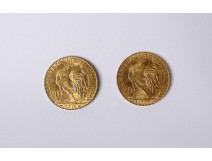 2 gold coins 20 francs 1907 1914 Rooster Marianne Chaplain French Republic