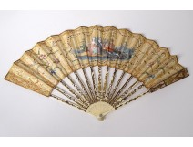 Fan gouache children flowers characters gilding Directory 18th century