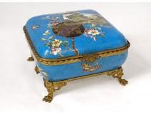 Limoges Bernardaud porcelain box landscape butterflies flowers nineteenth bronze