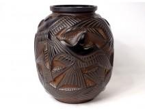 Pierre d'Avesn Art Deco vase swallows model black brown molded glass twentieth