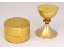 Travel chalice gold metal patene goldsmith box A. Montagnier Paris XXth
