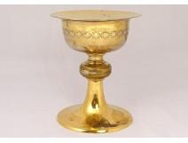 Chalice paten gilded metal crown thorns cross IHS church 20th century