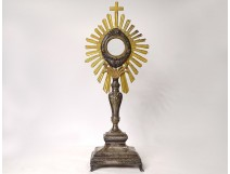 Monstrance monstrance silvery bronze gilt metal cherubs wheat grapes XIXth