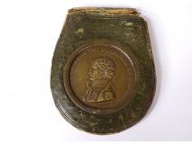 Leather wallet bronze medal Joseph Napoleon King Spain Indies XIXth