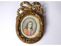 Miniature oval portrait young man gilded carved wooden frame knot eighteenth
