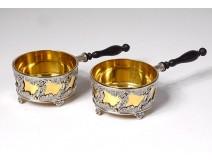 Pair salt shakers silver pan Minerva goldsmith Monney nineteenth century
