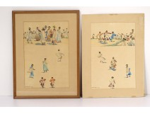 2 Albert Ramanda watercolors characters Madagascan dance Madagascar XXth