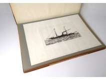 Sagitta steamship silhouettes book characters 20th century etching cruise