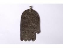 Handmade metal pendant Fatma Khamsa Maroc Maghreb Morocco jewel XXth century